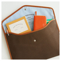 A4 canvas pouch - brown