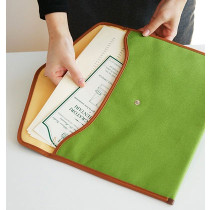 A4 canvas pouch - yellow green