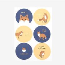 Winter fox message paper sticker set
