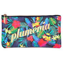 Plumeria multi zipper pencil pouch