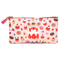 Strawberry multi zipper pencil pouch