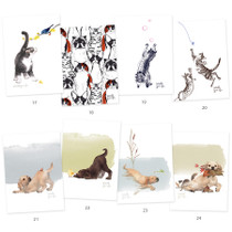 Vivid cat and puppy illustration postcard - C
