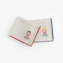My big boy and girl linen handkerchief