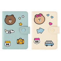 Line friends RFID blocking passport case with leather sticker