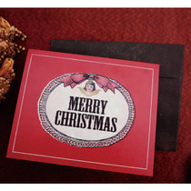 Merry Christmas antique red card