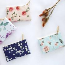 Blossom pattern small zipper flat pouch