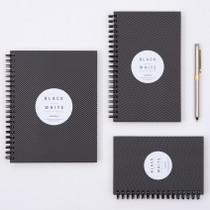 Black White spiral plain notebook - Black