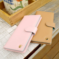 Crown large wallet - Milk cocoa, Cotton pink