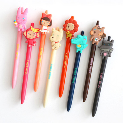 Hellogeeks Cute Gel Pen With Soft Rubber Character 0 38mm