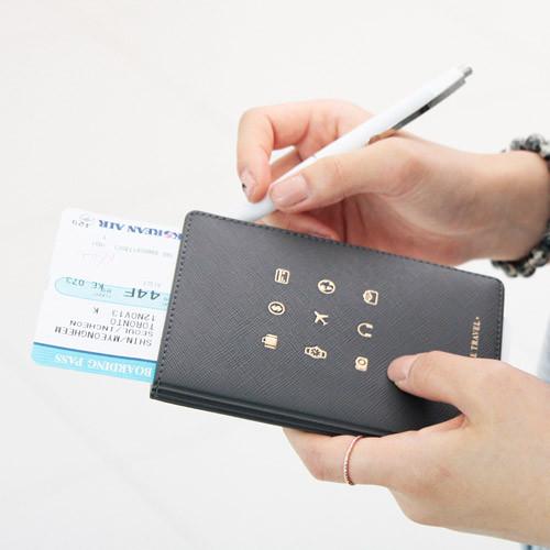 Wanna This Wannabe Pictogram Travel Rfid Blocking Passport Case