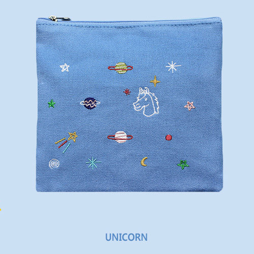 Afternoon in space medium cotton zipper pouch fallindesign for Space unicorn fabric