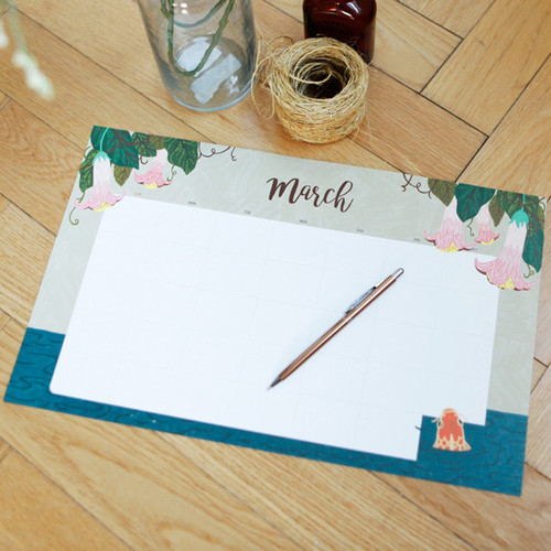 pour vous undated monthly planner paper with desk mat