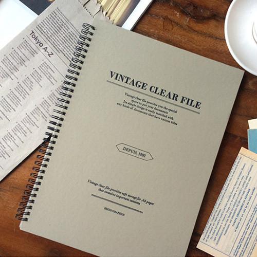 Light gray - Vintage A4 size clear pocket file holder
