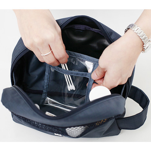 1 clear pocket travel toiletry bag with hand strap