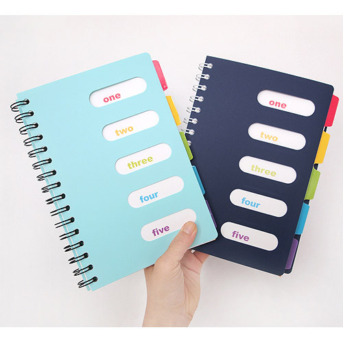 2young small wirebound lined notebook with color index tab