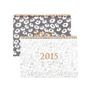 2015 Flower pattern wirebound dated dual monthly planner