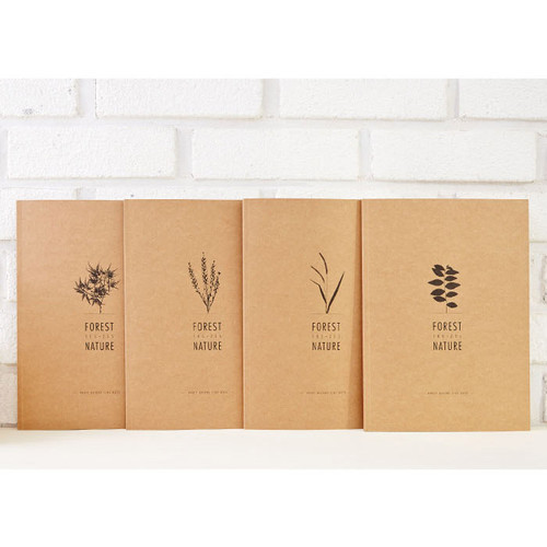 Kraft forest nature lined notebook large
