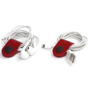 leather red earphone organizer
