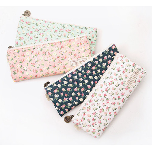 2young flower pattern flat zipper pencil case pouch