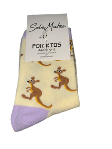 Kids Kangaroo Socks Cream and Lilac