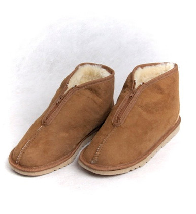 Skinnys Front Zip Slippers Chestnut