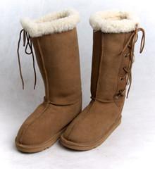 Skinnys Lace-Up Sheepskin Boot Chestnut