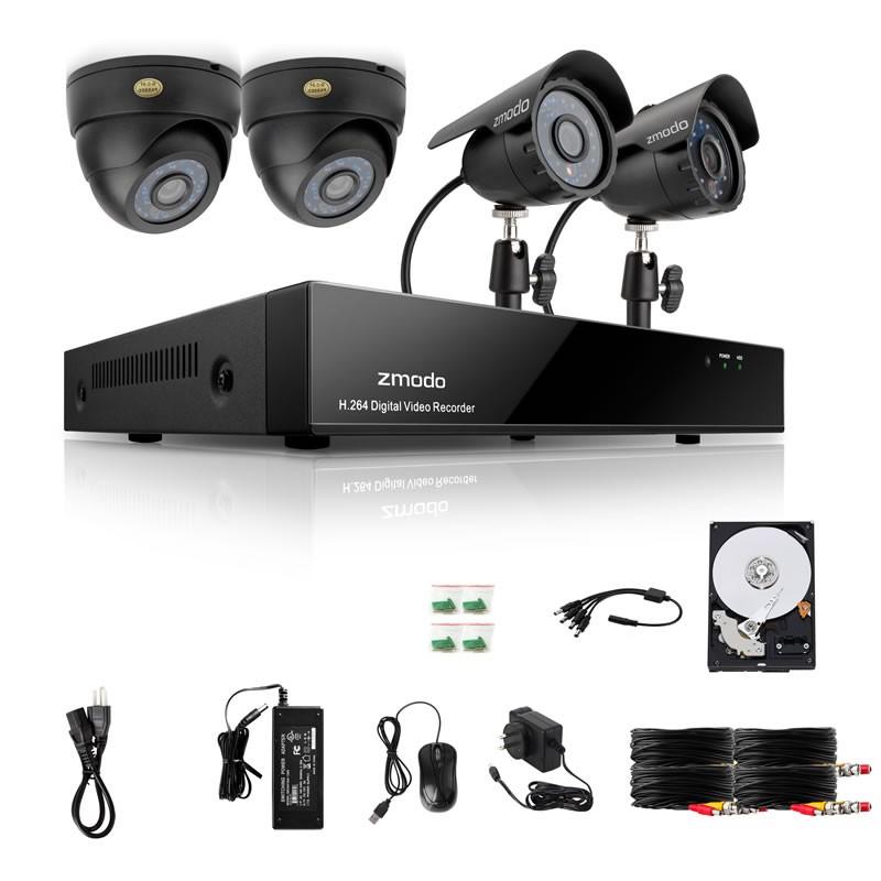 Zmodo 4 CH DVR Sony CCD Outdoor CCTV Security Camera System
