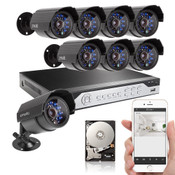DVR with 1TBHDD & 8 CMOS 700TVL Night Vision Outdoor Security Cameras