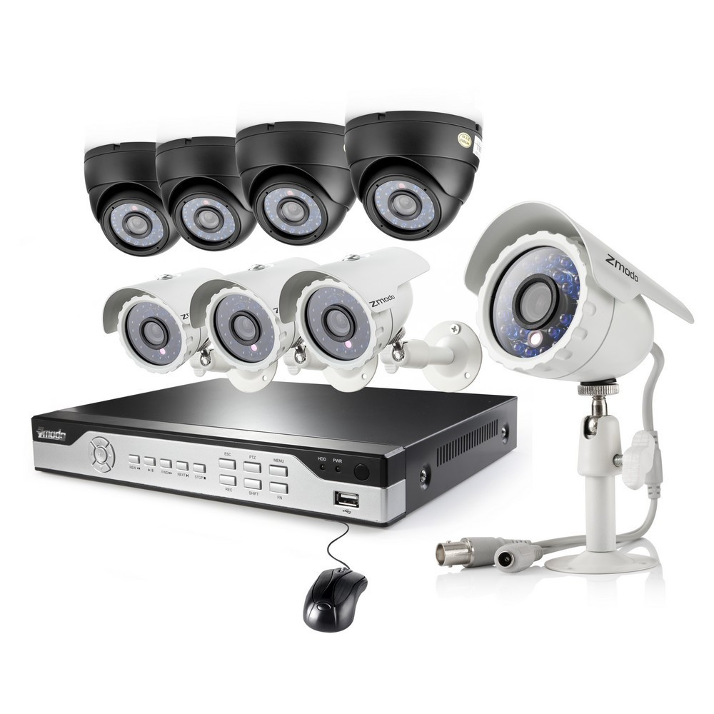 Surveillance System with 4 Bullet & 4 Dome CCD Night Vision