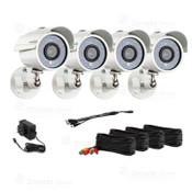 4 Pack of 700TVL Zmodo Bullet Cameras. - Package includes 4 Cameras, 4/ea 60/ft BNC/Power Cables, and power supply.