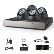 Funlux 8CH Video Security System w/ 4 BLK Vandal Proof Dome Cameras