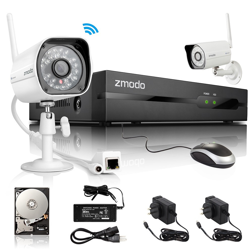 Zmodo 4 Channel 720P NVR with 2 Outdoor WiFi Network IP
