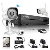 Zmodo 4 Channel 720P NVR with 2 Outdoor WiFi Network IP Cameras & 1TB HDD