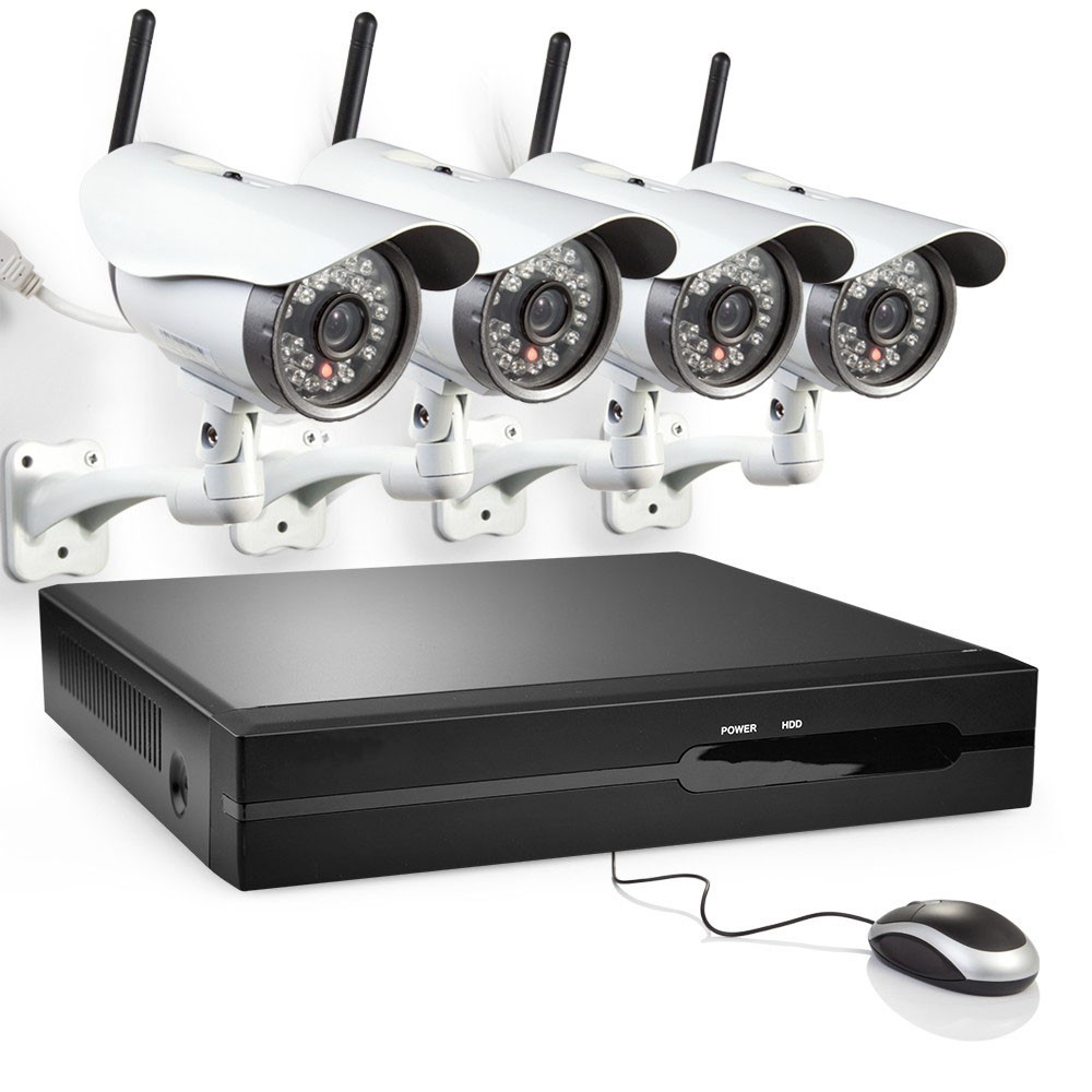Zmodo 4 Channel 720P NVR with 4 Outdoor Bullet WiFi Network IP Cameras &  1TB HDD