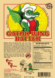 Gator Wing Batter - Frying batter mix No MSG You'll be flying high with this great batter - This batter is not only designed for alligator, but also chicken wings, vegetables (like eggplant, squash, green tomatoes, and etc.) shrimp, and oysters!  It is a flour based, low sodium (1%), and no MSG.  Great to fry nearly anything!