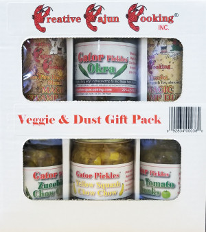 This variety pack gets you setup for a Cajun of a good time!  Magic Swamp Dust Fire Department Blend, Magic Swamp Dust Proche, Zuccini and Yellow Squash Chow Chow, Gater Pickles Green Tomato Chunks and Okra.