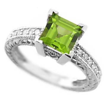 Green Peridot Engagement Ring