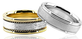 18k Gold Wedding Bands For Men Women
