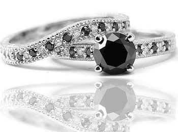 Matching Black Diamond Ring Set