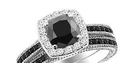 Matching Black Diamond Engagement Ring Sets