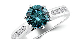 Blue Diamond Engagement and Wedding Rings