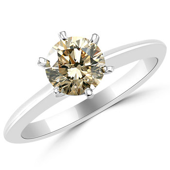 Fancy Champagne Diamond Solitaire Engagement Ring