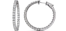 Diamond Hoop Huggie Earrings