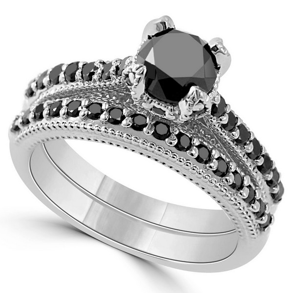 floral black diamond engagement and wedding ring set - Black Diamond Wedding Ring