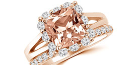 Peach Pink Morganite Engagement Rings