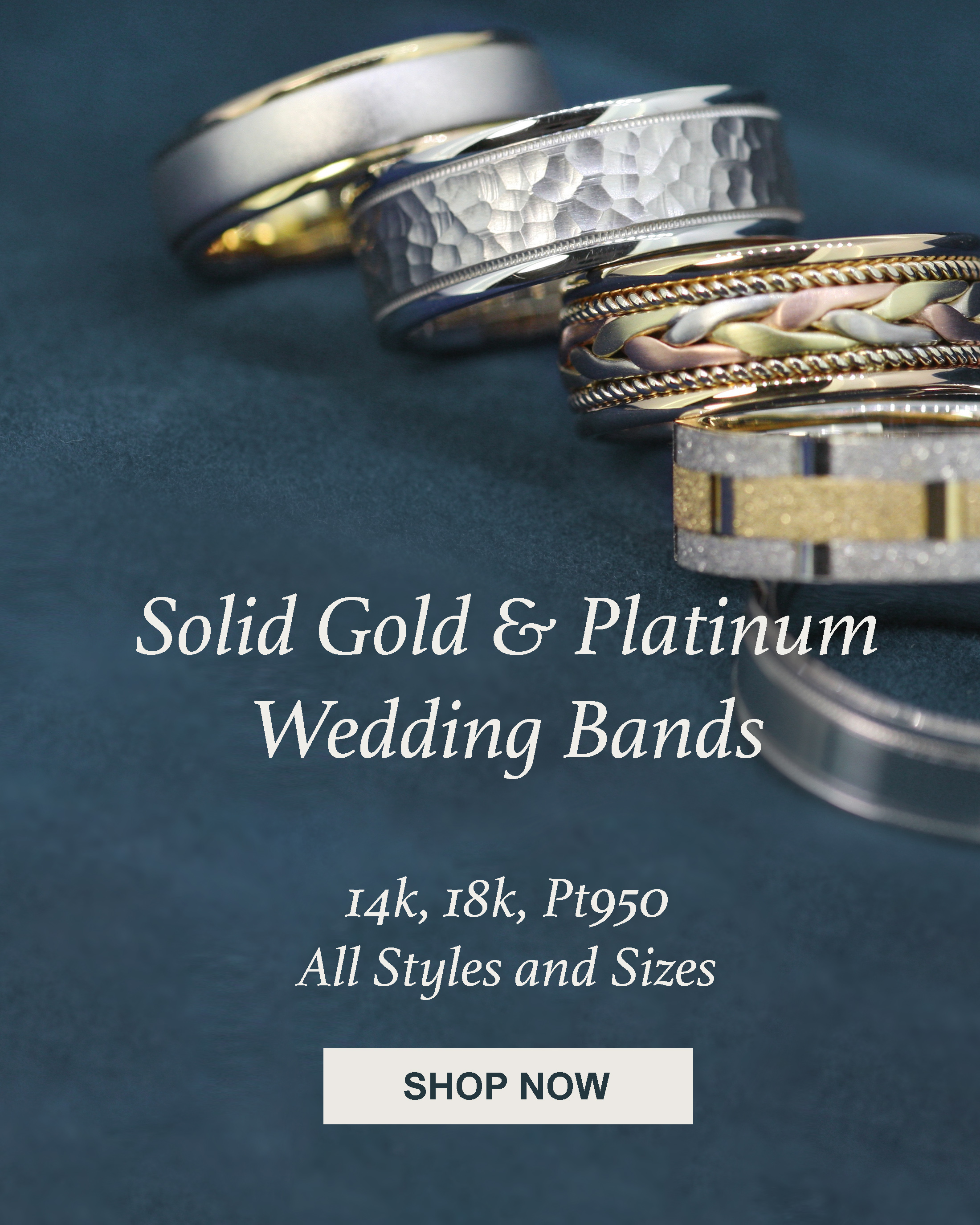 Mens 14k 18k Gold and Platinum Wedding Bands