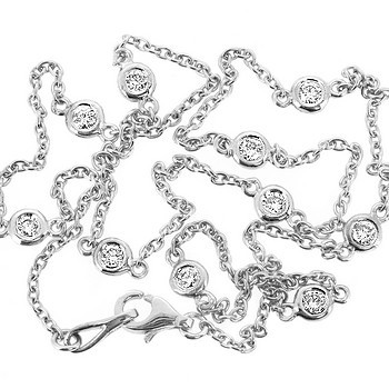 Diamond By The Yard Bezel Necklace White Gold