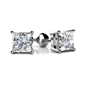 0.50 Carat Princess Diamond Stud Earrings