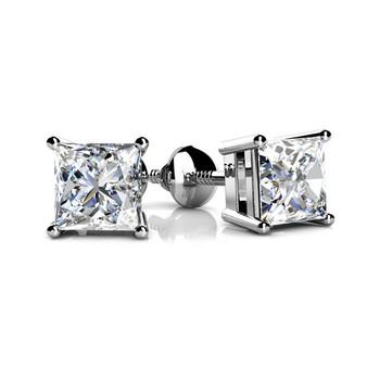 0.50 Carat Princess Diamond Stud Earrings