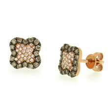 Champagne Diamond Clover Stud Earrings Rose Gold